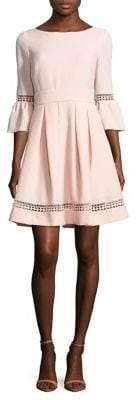 Eliza J Bell-Sleeve Crochet Fit-&-Flare Dress