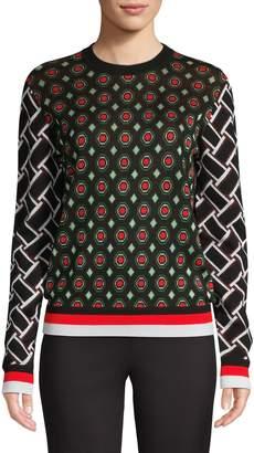 Diane von Furstenberg Metallic Jacquard Wool Blend Sweater