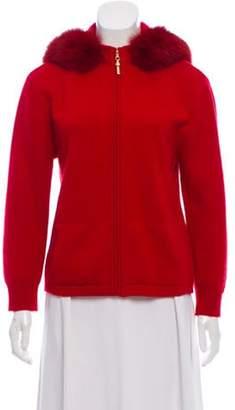 St. John Cashmere Fur-Trimmed Cardigan Cashmere Fur-Trimmed Cardigan