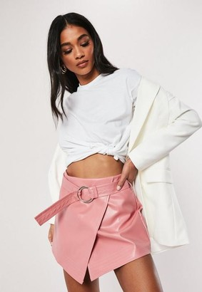 Missguided Pink Ring Belt Detail Faux Leather Skirt