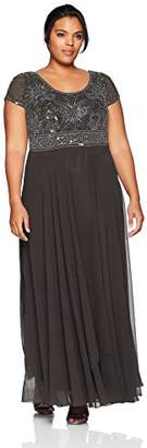 J Kara Women's Plus Size Long Empire Waist Dress