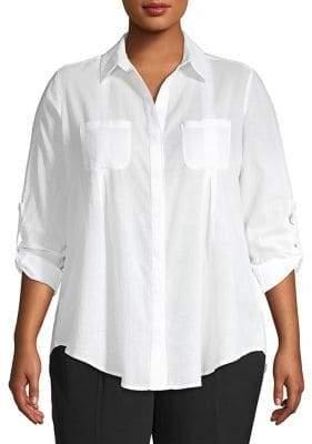 Lord & Taylor Plus Cotton Button-Down Shirt