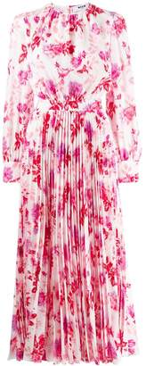 MSGM floral pleated long dress