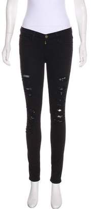 Frame Distressed Mid-Rise Jeans