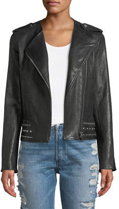 Nour Hammour No-Collar Studded Stretch Leather Moto Jacket