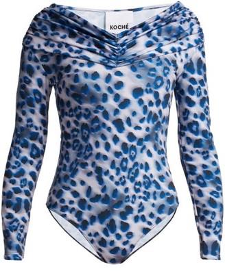 Koché Leopard Print Off The Shoulder Bodysuit - Womens - Blue Print