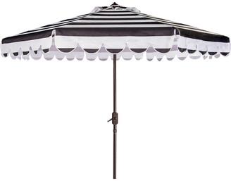Safavieh Maui Single Scallop Striped 9Ft Crank Push Button Tilt Umbrella
