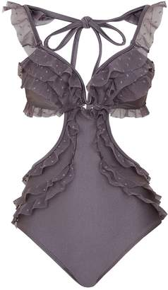 Zimmermann Laelia Cut Out Ruffle Swimsuit