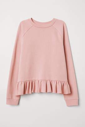 H&M Flounced Sweatshirt - Pink
