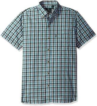 G.H. Bass & Co. Men's Short Sleeve Seersucker Small Plaid Shirt