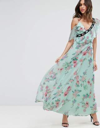 Asos Design Floral Maxi Tea Dress with Lace Up Detail
