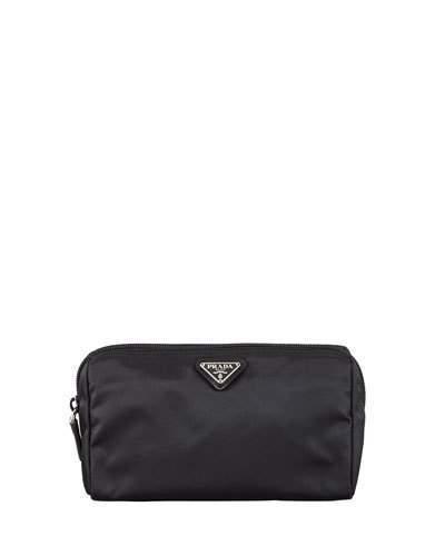 Prada Vela Cosmetic Bag, Black (Nero)