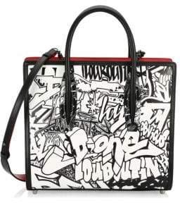 Christian Louboutin Women's Medium Paloma Graffiti Leather Tote - Black White