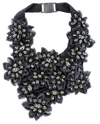 Brunello Cucinelli Silk & Crystal Floral Bib Necklace