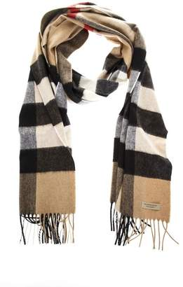 Burberry Camel Classic Fringed Scarf In Cashmere