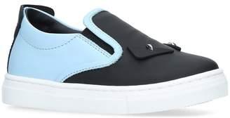 Fendi Leather Monster Slip-On Sneakers