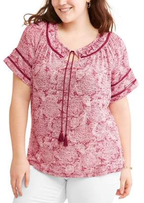 Cherokee Women's Plus Peasant Top with Stitch Details