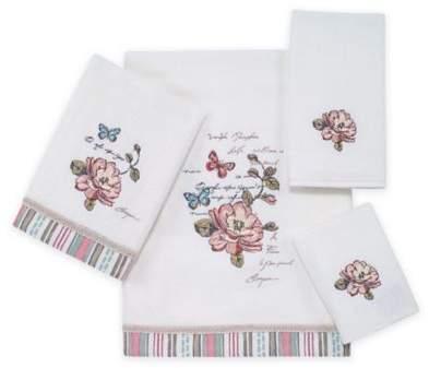 Butterfly Garden Fingertip Towel in White