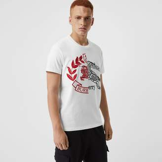 Burberry Contrast Crest Cotton T-shirt