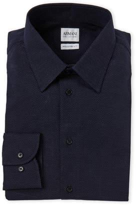 Armani Collezioni Navy Dot Modern Fit Dress Shirt
