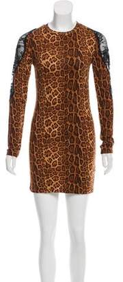 Torn By Ronny Kobo Lace-Accented Cheetah Dress w/ Tags