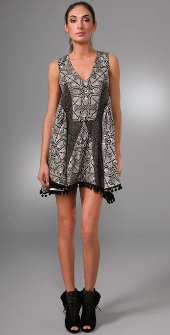 Thakoon Patchwork Dress with Pom Pom Trim
