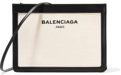 Balenciaga  Balenciaga - Navy Pochette Leather-trimmed Canvas Shoulder Bag - Cream