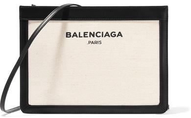Balenciaga Balenciaga - Navy Pochette Leather-trimmed Canvas Shoulder Bag - Cream