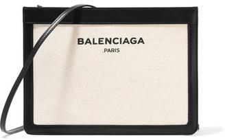 Navy Pochette Leather-trimmed Canvas Shoulder Bag - Cream
