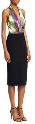 Theia Halter V-Neck Sheath Dress