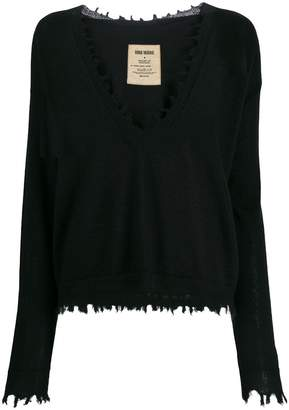 UMA WANG frayed hem V-neck sweater