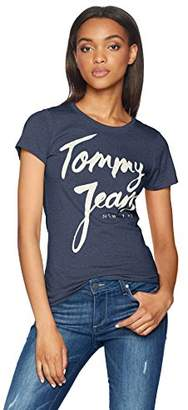 Tommy Hilfiger Tommy Jeans Women's T Shirt Short Sleeve Graphic Logo Tee Slim Fit