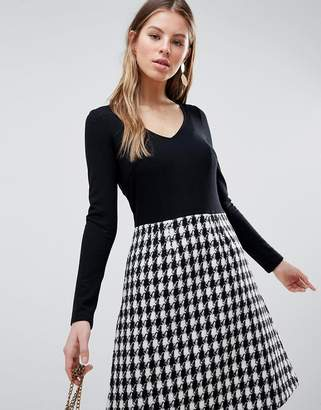 Traffic People Long Sleeve 2-in-1 Skater Dress With Checked Skirt