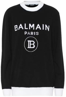 Balmain Logo wool and cashmere sweater