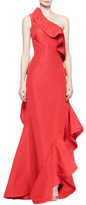 Oscar de la Renta Ruffled One-Shoulder Gown