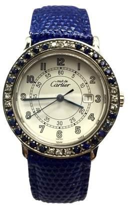 Cartier Argent 925 Sterling Silver Custom Diamonds & Sapphires 32.5mm Womens Watch