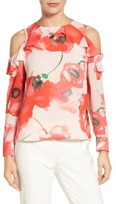 Women's Cece Ruffled Cold Shoulder Floral Blouse $99 thestylecure.com