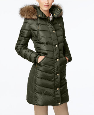 MICHAEL Michael Kors Faux-Fur-Trim Hooded Down Coat $330 thestylecure.com