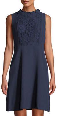 Karl Lagerfeld Paris Lace-Bib Sleeveless A-Line Dress