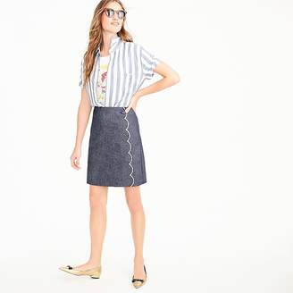 J.Crew Scalloped chambray skirt
