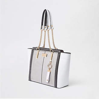 River Island Light grey winged chain handle tote bag