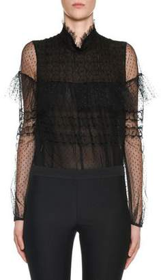 Giambattista Valli Swiss-Dot Lace Ruffled Blouse