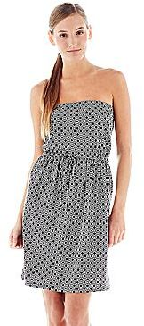 Joe Fresh Joe FreshTM Print Strapless Tie-Waist Dress