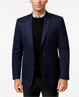 Lauren Ralph Lauren Men's Classic-Fit Blue Windowpane Sport Coat $350 thestylecure.com