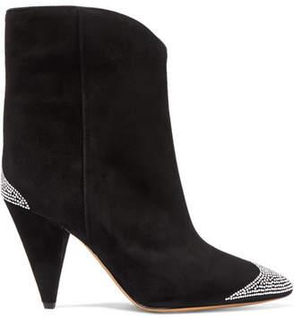 Isabel Marant Alnya Crystal-embellished Suede Ankle Boots - Black
