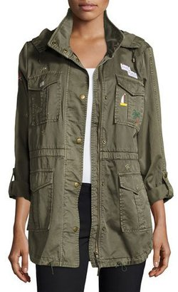 Joie Iban Patchwork Cotton Utility Jacket, Green $428 thestylecure.com