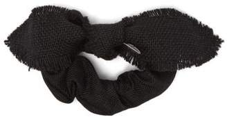 Lafayette House Of Bambou Bow Linen Scrunchie - Womens - Black