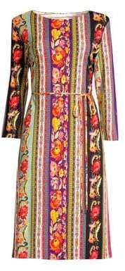 Etro Jersey Ribbon Floral Belted Dress