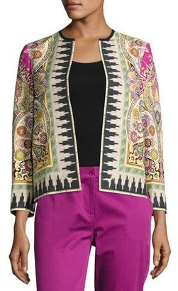 Etro Ikat-Print Open Bracelet-Sleeve Jacket, Fuchsia/Ivory/Green $1,800 thestylecure.com