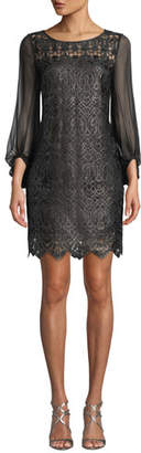 Elie Tahari Merida 3/4-Sleeve Lace Dress